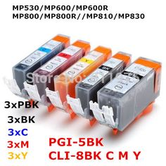 15 ink PGI-5 CLI-8 5color compatible ink cartridge For canon PIXMA MP530 MP600 MP600R MP800 MP800R MP810 MP830 printer full ink