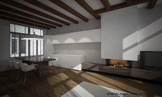 moderne woonruimte met open keuken in grachtenpand
