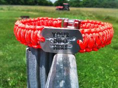 REFLECTIVE Dog Collar with woven in DOG TAG by DanTheParacordMan, $30.00