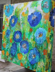 Blue Poppy Garden Maria Pace-Wynters Mixed Media Artist