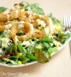 Onion Ring Southwest Salad with Spicy Honey Mustard Salad Dressing Recipe | From TheGraciousWife.com