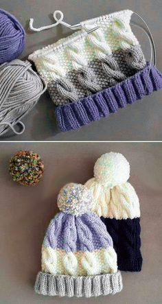 Free Knitting Pattern , Cozy Cable Knit Hat - Free Pattern , Free Knitting Patterns Source by A. Knitting Designs, Knitting Patterns Free, Free Knitting, Crochet Patterns, Free Pattern, Knitting Stitches, Knitted Blankets, Knitted Hats, Baby Blankets