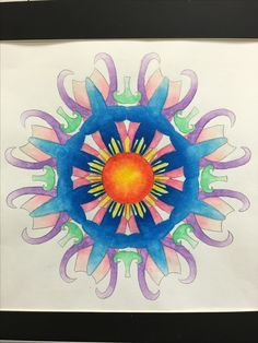 8th Grade Painting. This stunning, finished, Mandala painting has a focus on Visual Art Standards 2PE, 2PR, 3PR and 6RE.  Students create the design based on 5 visual symbols that represent who they are as a person.  Watercolor pencil on watercolor paper.
