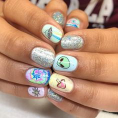Trippy 420 Nails for Erika 🛸✨ using decals she brought in from (at Long Beach, California) Crazy Nail Designs, Diy Nail Designs, Acrylic Nail Designs, Acrylic Nails, Gorgeous Nails, Pretty Nails, Weed Nails, Hippie Nails, Hippie Nail Art