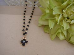Greek Gold Tone Black Evil Eye Cross Necklace by ForThatSpecialDay on Etsy