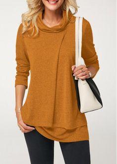 da93a22d0a Cowl Neck Long Sleeve Ginger T Shirt | Rotita.com - USD $28.42 Trendy Tops
