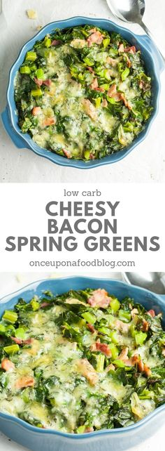 Low carb and easy to make vegetarian, these cheesy bacon spring greens are quick and easy to prepare and take leafy green veg to the next level. They are totally addictive! #springgreens #cheesyleeks #cauliflowercheese #cheeseandbacon #lowcarbveg #springrecipes #easterrecipes #springmain #greatwithlamb #springrecipeshealthy #vegetarianrecipes #vegetarianmains #lightlunch #lightmain #lowcarbmain #onceuponafoodblog