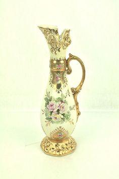 Vintage Gold Pink Roses Floral Reticulated Porcelain Ewer Pitcher Pierced