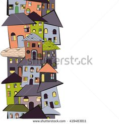 Houses with roofs and windows. Kids style drawing. Vertical seamless pattern. Isolated on white. Picture for invitations or real estate. - stock vector