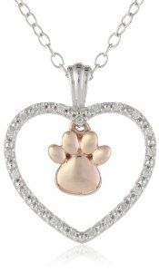 Silver Heart and 10k Rose Gold Paw Symbol Diamond Accent Pendant Necklace, 18""