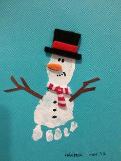 Schneemann mit Hut , Fussabdruck