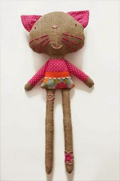 Amazing Home Sewing Crafts Ideas. Incredible Home Sewing Crafts Ideas. Fabric Toys, Fabric Crafts, Sewing Crafts, Sewing Projects, Paper Toys, Softies, Fabric Animals, Cat Doll, Sewing Dolls