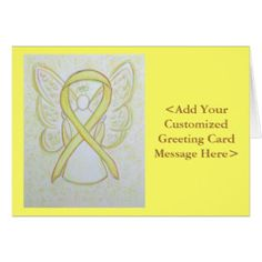 Yellow Awareness Ribbon Angel Personalized Cards for Bladder Cancer or Sarcoma/ Bone Cancer
