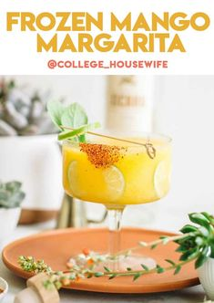 Frozen mango margaritas with a spicy chili rim! This recipe, adapted from The Husbands That Cook coobook, is a frozen take on a classic margarita! It's the perfect summer cocktail recipe for parties or just to enjoy in the sunshine Refreshing Summer Cocktails, Summer Drinks, Margarita Recipes, Cocktail Recipes, Frozen Mango Margarita, Smores Dessert, Spicy Chili, New Cookbooks, Partys