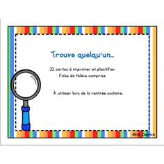 Trouve quelqu'un - Activité de rentrée French Class, Back To School Activities, Ice Breakers, Home Schooling, French Language, Classroom, Teacher, Education, Cycle 2