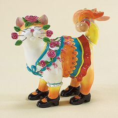 """""""Margarita"""" Whimsiclay Cat Figurine: This whimsical cat-themed ceramic figurine is carefully detailed, hand-painted and created by artist Amy Lacombe."""