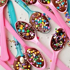 Sprinkled Chocolate Party Spoons!