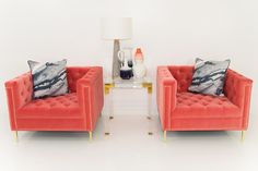 Hollywood Chair in Coral Velvet*                           | ModShop