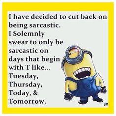 Flexible Fridge Magnet Funny Minion Meme Sarcastic On Days With T - Funny Minions Quotes Funny Minion Memes, Minions Quotes, Funny Texts, Funny Jokes, Hilarious, Memes Humor, Minions Minions, Stupid Jokes, Meme Meme