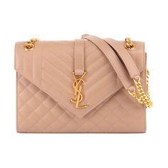 V flap monogram medium envelope chain shoulder bag - golden hardware by Saint Laurent #saintlaurent #bags