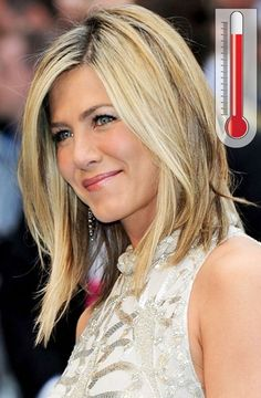 Jennifer Aniston layered angled bob with highlights & low-lights.