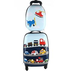 Kids Luggage & Backpack Set - iPlay, iLearn Carry On Luggage with Spinner Wheels and Backpacks Set for Little Kids, Toddlers, Teenage, Boys and Girls (Cars & Helicopter) Kids Luggage, Luggage Backpack, Carry On Luggage, Luggage Sets, Travel Luggage, Toddler Boys, Kids Boys, Car Girls, Boy Or Girl