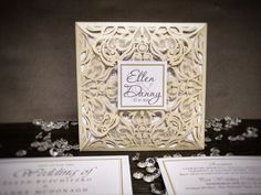 Check out these beautiful ivory/cream 4 fold laser cut floral style wedding invitations. Square Tag on front with inserts and extra info cards inside. Laser Cut Invitation, Laser Cut Wedding Invitations, Floral Style, Floral Lace, Cork City, Lace Ribbon, Now And Forever, Laser Cutting, Stationery