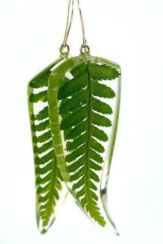 resin and fern earrings