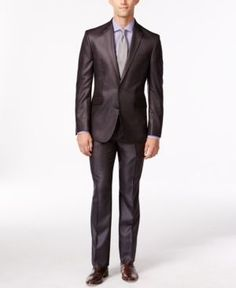Kenneth Cole Reaction Brown Stripe Slim-Fit Suit  - Brown 38S