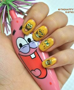 Spongebob Nails: Manicure Featuring Spongebob Water Decal Nail Stickers   Full post here :  http://thehappysloths.blogspot.ca/2013/06/spongebob-nails-manicure-featuring.html  Use our   Spongebob water decal nail stickers   http://www.bornprettystore.com/nail-water-decals-sticker-cute-spongebob-squarepants-pattern-k128-p-6203.html  10% off sitewide code: QXL91
