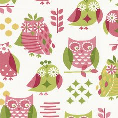 Girly Owl Fabric Sold by the Yard #carouseldesigns