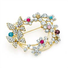gold crystal flower butterfly ladies womens fashion dress brooch | 14588 | £14.50