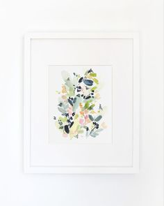 Floral Movement in Indigo Watercolor Art Print by YaoChengDesign