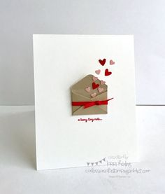 Simple Little Valentine (Confessions of a Stamping Addict) - want to do. - Simple Little Valentine (Confessions of a Stamping Addict) Simple Little Valentine Valentine Crafts, Valentine Day Cards, Homemade Valentine Cards, Ideas For Valentines Day, Valentines Presents, Printable Valentine, Diagrammes Origami, Diy Gifts, Handmade Gifts