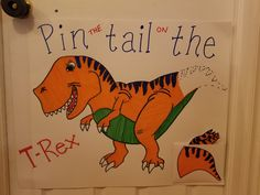 Pin the Tail on the T-Rex- Game for kids Dinosaur themed birthday party - melissa 3 Year Old Birthday Party Boy, Birthday Party Games For Kids, Birthday Themes For Boys, Dinosaur Birthday Party, Birthday Party Themes, 4th Birthday, Birthday Ideas, Dinosaur Party Games, Toddler Party Games