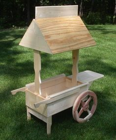 Wooden vendor cart w 3 shelves oak retail store for How to build a lemonade stand on wheels