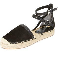 Rebecca Minkoff Gina Espadrilles (€120) ❤ liked on Polyvore featuring shoes, sandals, woven leather sandals, leather espadrilles, platform sandals, platform espadrilles and platform shoes