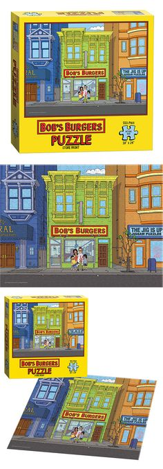 "A 550-piece jigsaw puzzle features the store front of Bob's Burgers with the Belcher Family. With a nod to the ever-changing neighboring store to the right, the puzzle will feature The Jig Is Up store who ironically makes jigsaw puzzles.  550 Pieces | 18"" x 24"" Finished Size 