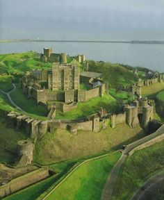 """The Medieval Dover Castle in Kent, England. This largest castle in England was founded in the 12th century and has been described as the """"Key to England"""" due to its defensive significance throughout history."""