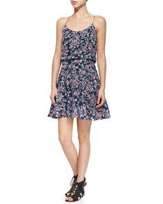 Nanon Floral-Print Sleeveless Dress, Size: LARGE, Dark Navy - Joie