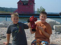 Luke and Deven showing off Michigan Mittens