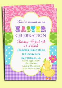 Whimsical Easter invitation - chick, gingham, dots