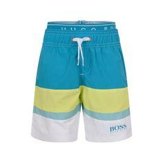 BOSS Boys Turquoise Striped Swimming Trunks