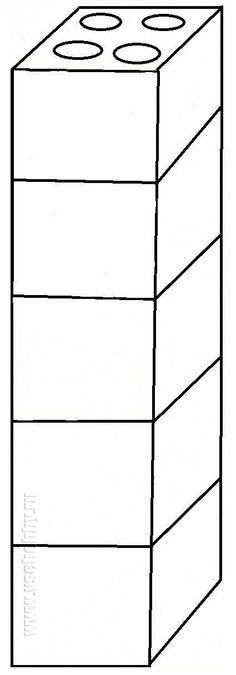 шаблон башни из пяти кубиков Лего