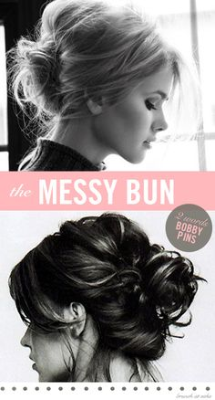 Quick messy bun style for work, post-workout hair, weekends, second day hair, etc. Add a cute headband or clip.