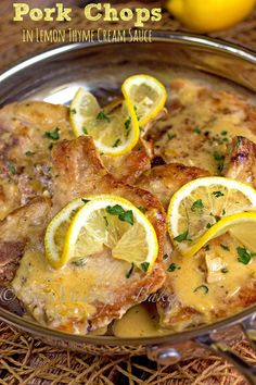 Pork Chops with Lemon Thyme Cream Sauce | bakeatmidnite.com | #porkchops #lemoncreamsauce #30minutemeals