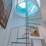 Spiral Staircase - Glass Treads | Bella Stairs Staircase Glass, Spiral Staircase, Brushed Stainless Steel, Stairs, Ladder, Spiral Stair, Stairway, Staircases, Ladders