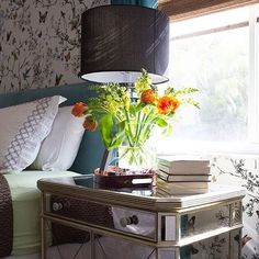 Weekend bedside bliss with fresh flowers  our Borghese Mirrored Mirrored Side Chest.  Photo via Design Award Winner @livelaughdecorate. by zgallerie #instagram