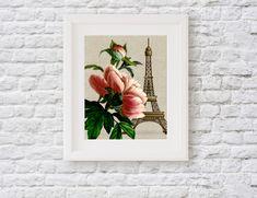 Paris Peony Floral Wall Art Print, Eiffel Tower Botanical Print, Pink Flower Floral Artwork Floral Artwork, Floral Wall Art, Most Popular Flowers, Paris Wall Art, Farmhouse Wall Art, Art Story, Botanical Prints, Peony, Framed Art Prints