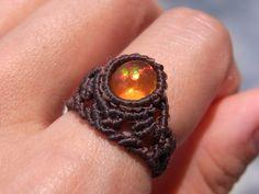 fire opal macrame ring